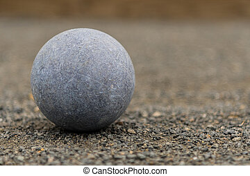 Close Up Blue Bocce Ball Left