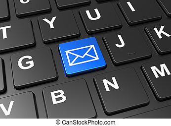 Close up blue button with email sign on black keyboard
