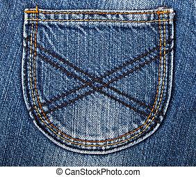 Close-up blue denim with pocket