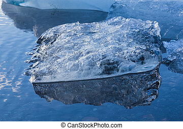 Close up Blue floating ice