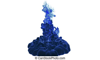 Close-up blue ink being poured into water in slow motion with alpha mask. Use it for background, transition or overlays. 3d motion graphics element VFX ink or smoke. Version 2