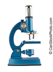 Close-up of a blue microscope isolated on a white background. Clipping path included