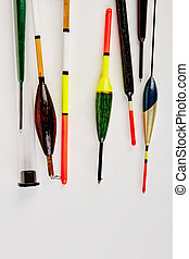 Close up bobbers, white background. Tackle equipment for ...