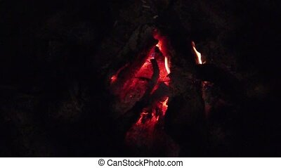 close up bonfire flames of camping fire, Super slow motion burning firewood