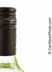 Close up bottle of chilled white wine