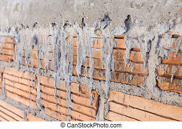 close up brick wall background in construction site
