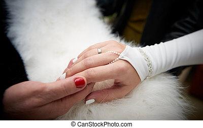 Close up bride's hand in white mitten