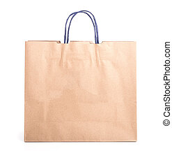 Close up brown paper bag isolated on white