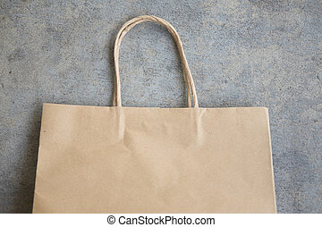 Close up brown paper shopping bag