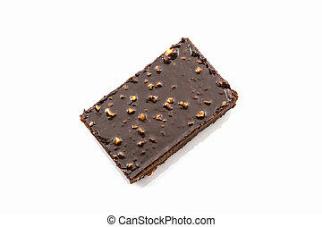 Brownie cake on white background