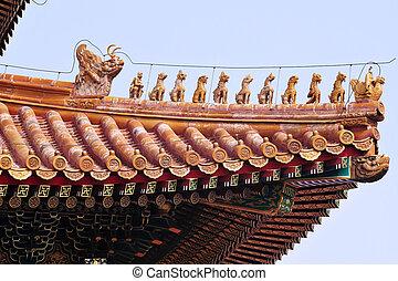 Close Up Building Detail, Beijing, China - Decoration detail...