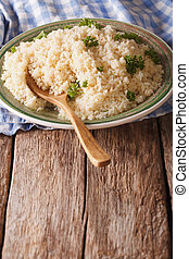 close-up, bulgur, natuurlijke , verticaal, peterselie, food:, tafel.