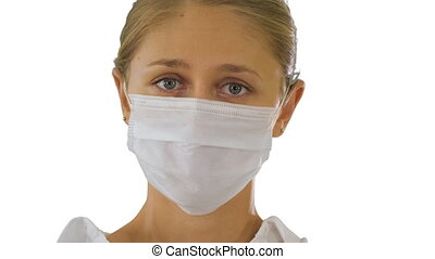 Business woman in a protective medical mask on white background.
