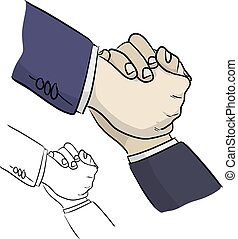 close-up businessman hand helping his friend vector illustration sketch doodle hand drawn with black lines isolated on white background