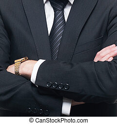 Close-up businessman in formal wear. Business concept. -...