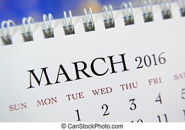 Close up calendar of March 2016