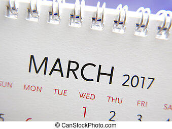 Close up calendar of March 2017