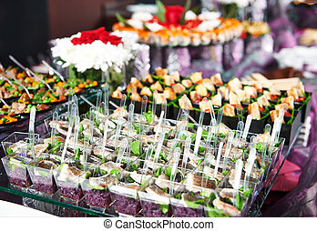 close-up catering table set - catering services background ...