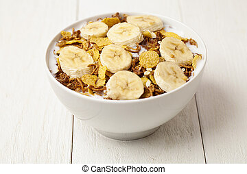 close up cereal bowl with slice bananas