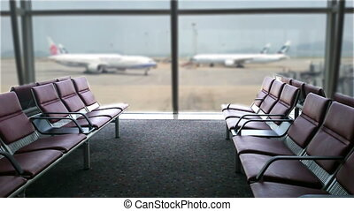 Close-up chairs in the airport