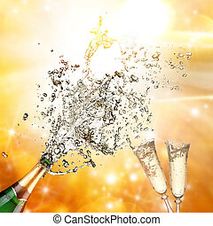 close-up, champagne, eksplosion