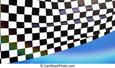 Close-up checkered race flag waving 4k