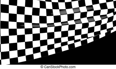 Close-up checkered race flag waving with an alpha channel 4k