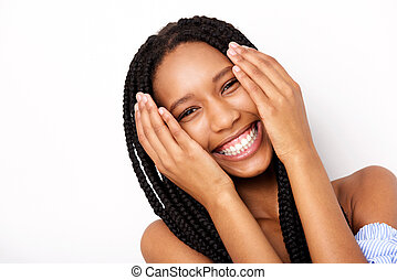 Close up cheerful african american young woman with hands by face against white background