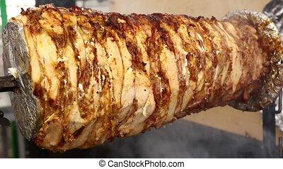 Close up chicken doner kebab roasted and smoked - Close up...