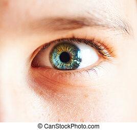 close-up child eye