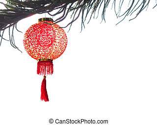 Chinese lantern on pine tree isolate on white for Chinese New Year background.