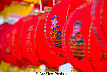 chinese lanterns for chinese new year in day time