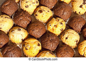 Close-up Chocolate Chip Muffins in Alternating Rows
