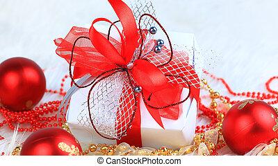 close up. Christmas gift box on festive background .