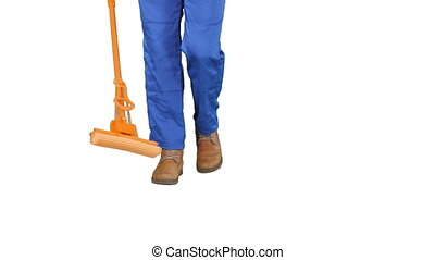 Cleaning Floor With Mop on white background. - Close up....