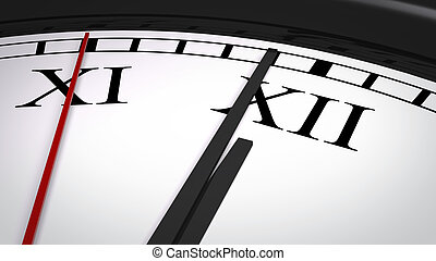 Close-up clock with Roman numerals striking twelve o'clock