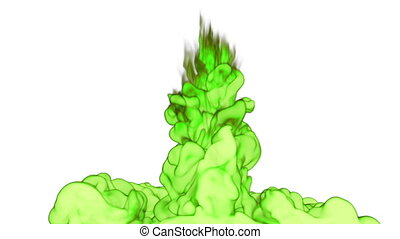 Close-up cloud of vivid green Ink underwater with alpha mask. Use for for transitions, background, overlay and effects. 3d VFX Ink or smoke background with very high detail Ver 15