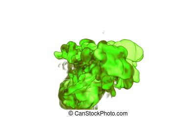 Close-up cloud of vivid green Ink underwater with alpha mask. Use for for transitions, background, overlay and effects. 3d VFX Ink or smoke background with very high detail Ver 13