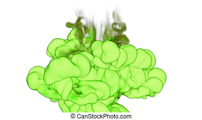 Close-up cloud of vivid green Ink underwater with alpha mask. Use for for transitions, background, overlay and effects. 3d VFX Ink or smoke background with very high detail Ver 8