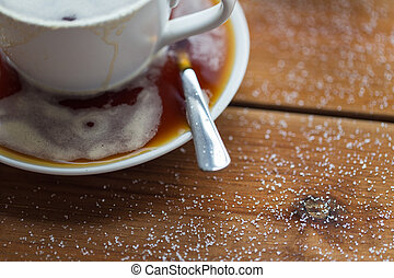 close up coffee cup and sugar on wooden table