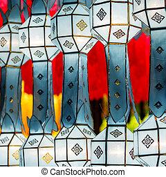 Close-up colorful international lanterns