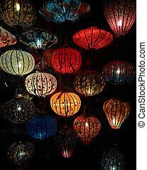 Close-up colorful international lanterns, Hoi An, Vietnam