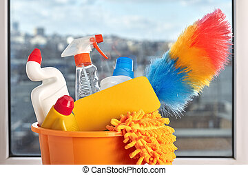 Close up colorful items for cleaning.