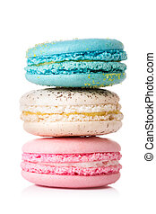 Close up colorful macaroons isolated on white.