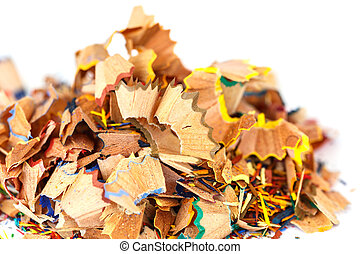 Close up colorful pencil shavings isolated on white background