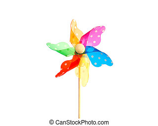 Close up colorful pinwheel over white background.