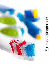 Close-up colorful toothbrush on a white background