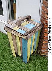 close up colorful wood bin