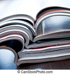 close-up, coloridos, -, revistas, abertos, pilha