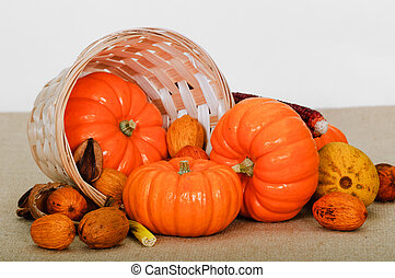 Close up composition of pumpkins, nuts and corns on the table.